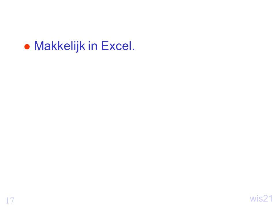 Makkelijk in Excel.