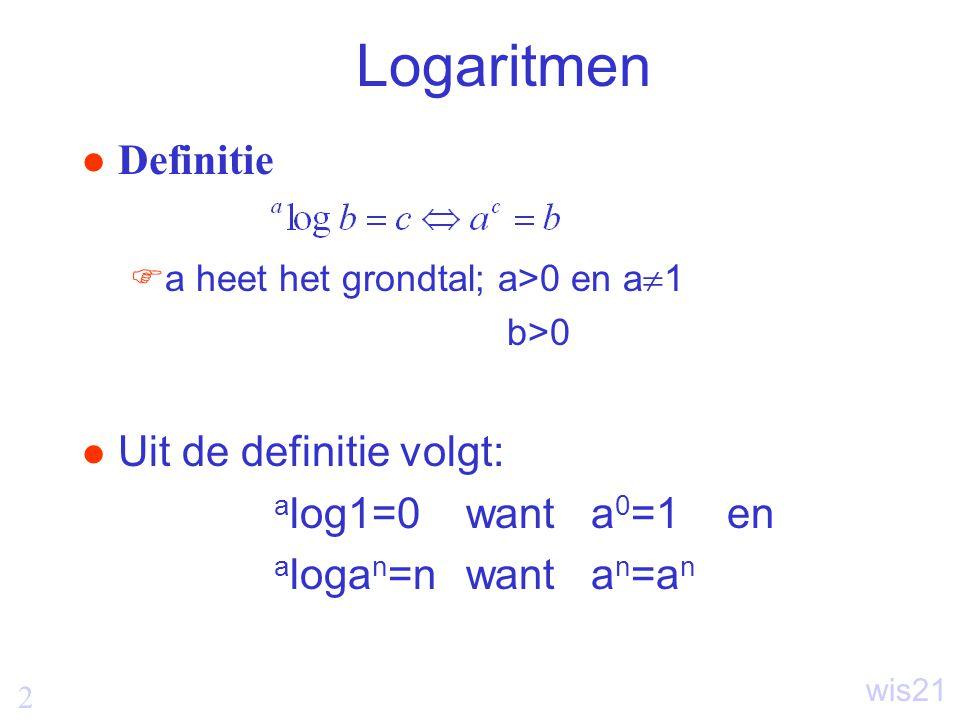 Logaritmen Definitie Uit de definitie volgt: alog1=0 want a0=1 en