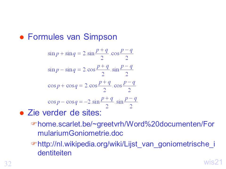 Formules van Simpson Zie verder de sites: