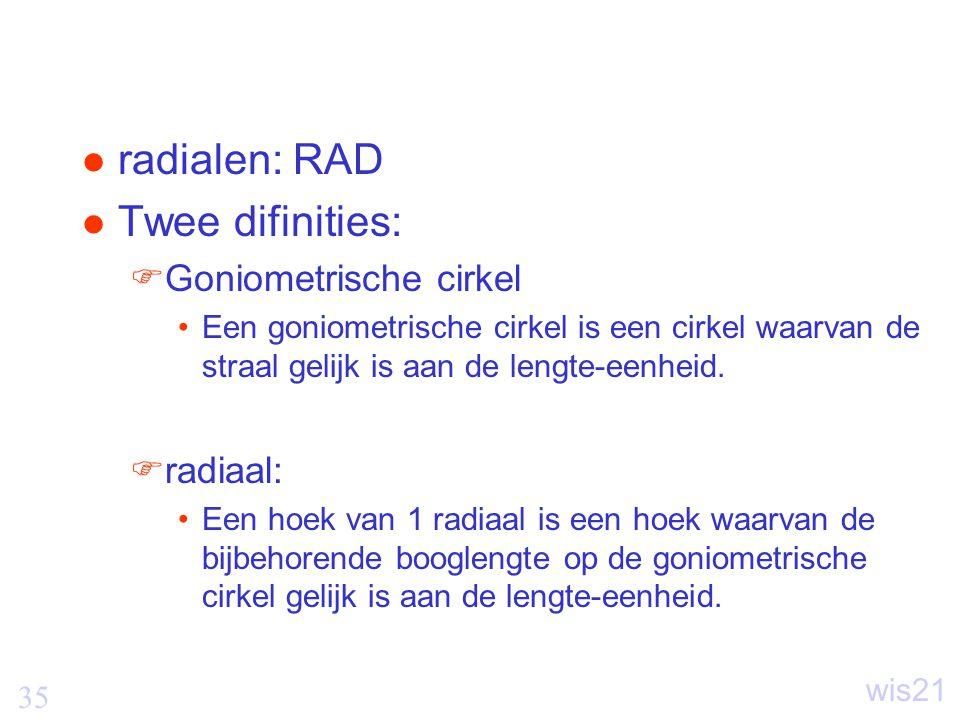 radialen: RAD Twee difinities: Goniometrische cirkel radiaal: