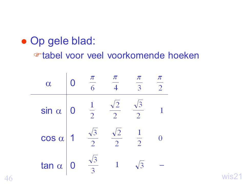 Op gele blad: tabel voor veel voorkomende hoeken  0 sin  0 cos  1