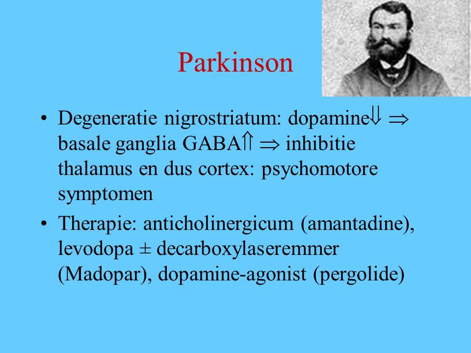Parkinson Degeneratie nigrostriatum: dopamine  basale ganglia GABA  inhibitie thalamus en dus cortex: psychomotore symptomen.