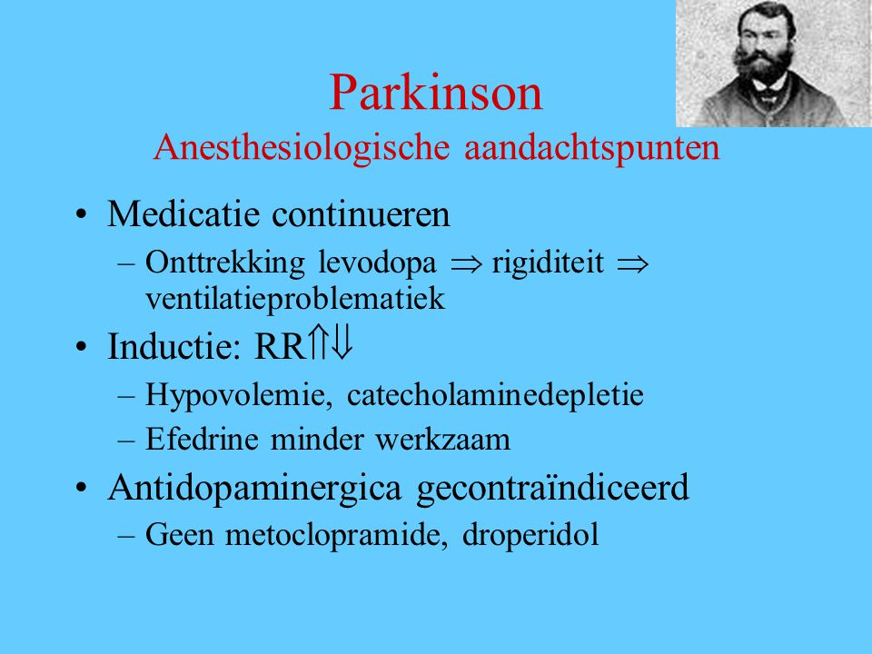 Parkinson Anesthesiologische aandachtspunten