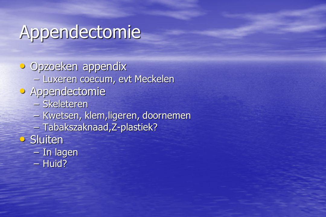 Appendectomie Opzoeken appendix Appendectomie Sluiten