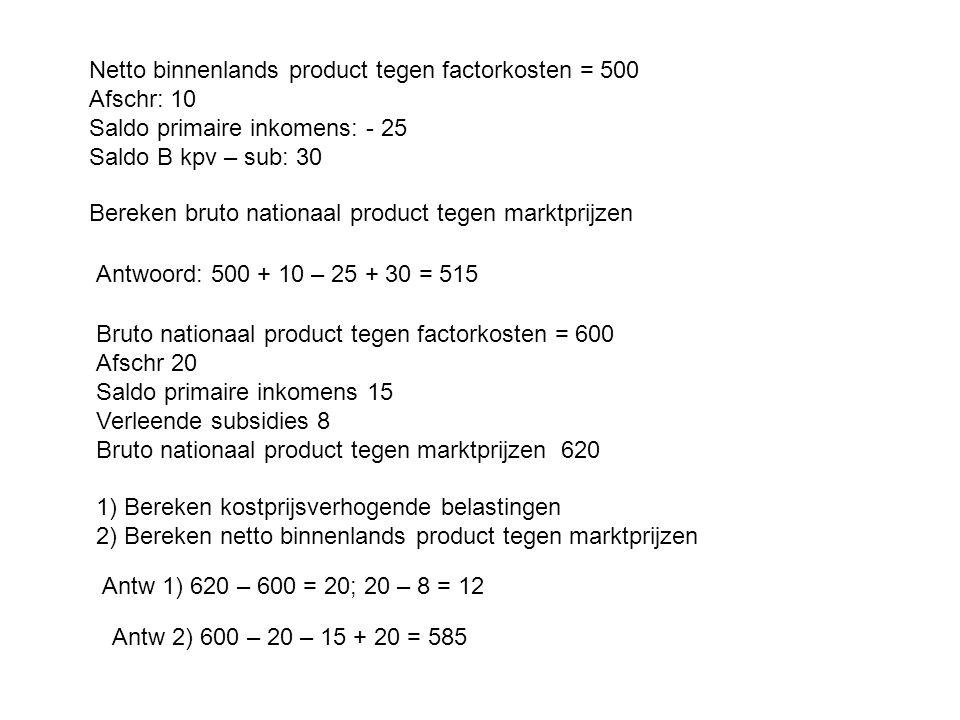 Netto binnenlands product tegen factorkosten = 500