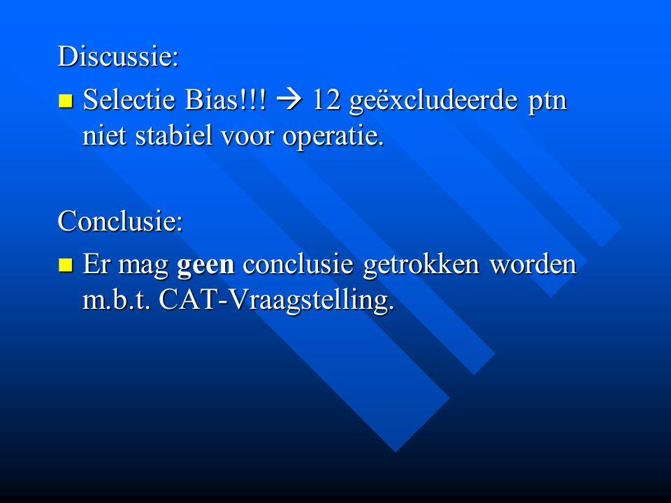 Discussie: Selectie Bias!!!  12 geëxcludeerde ptn niet stabiel voor operatie. Conclusie:
