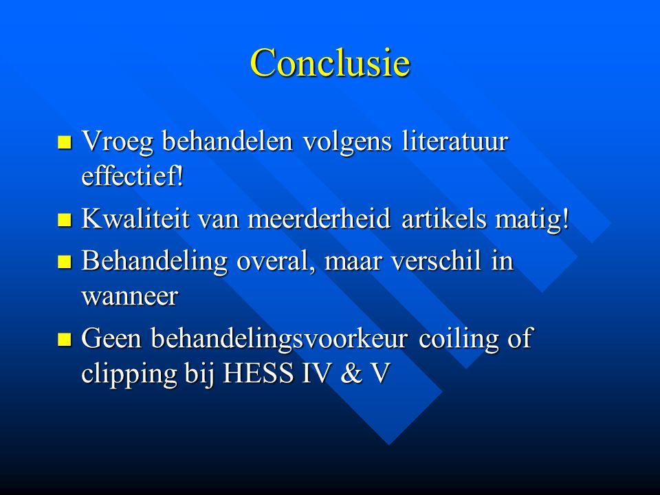 Conclusie Vroeg behandelen volgens literatuur effectief!