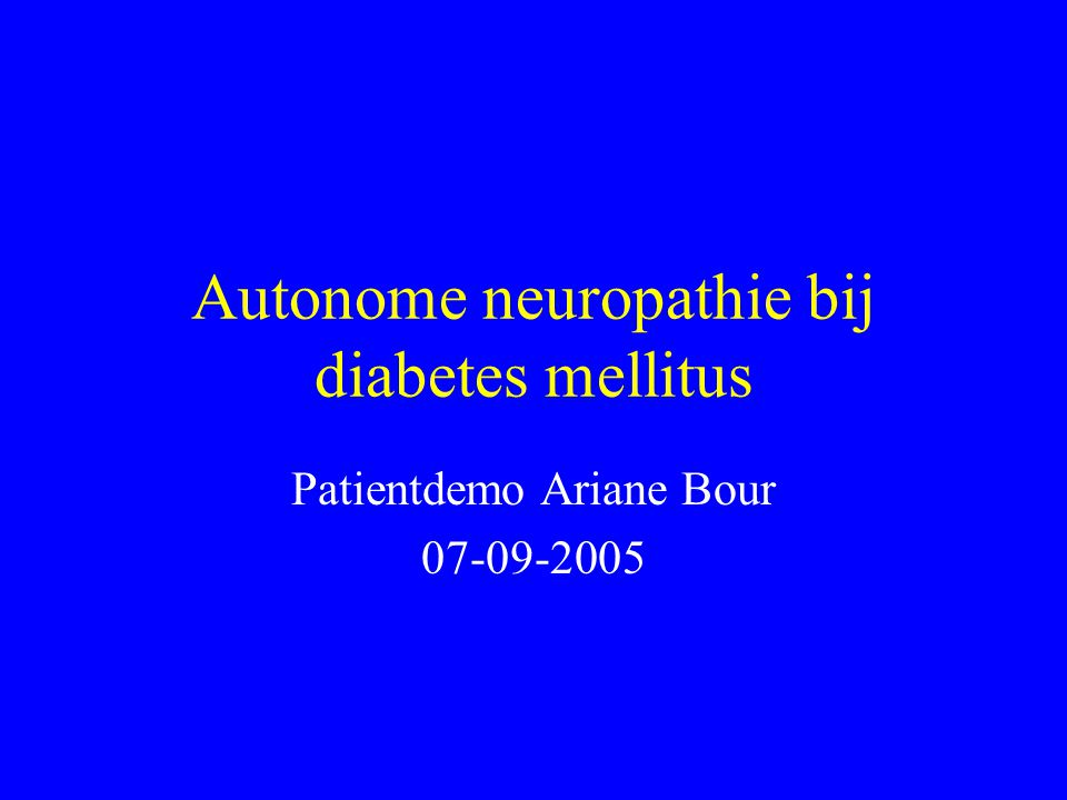 Autonome neuropathie bij diabetes mellitus