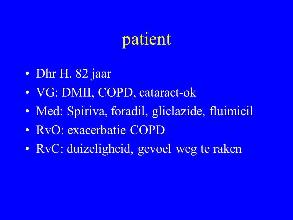 patient Dhr H. 82 jaar VG: DMII, COPD, cataract-ok