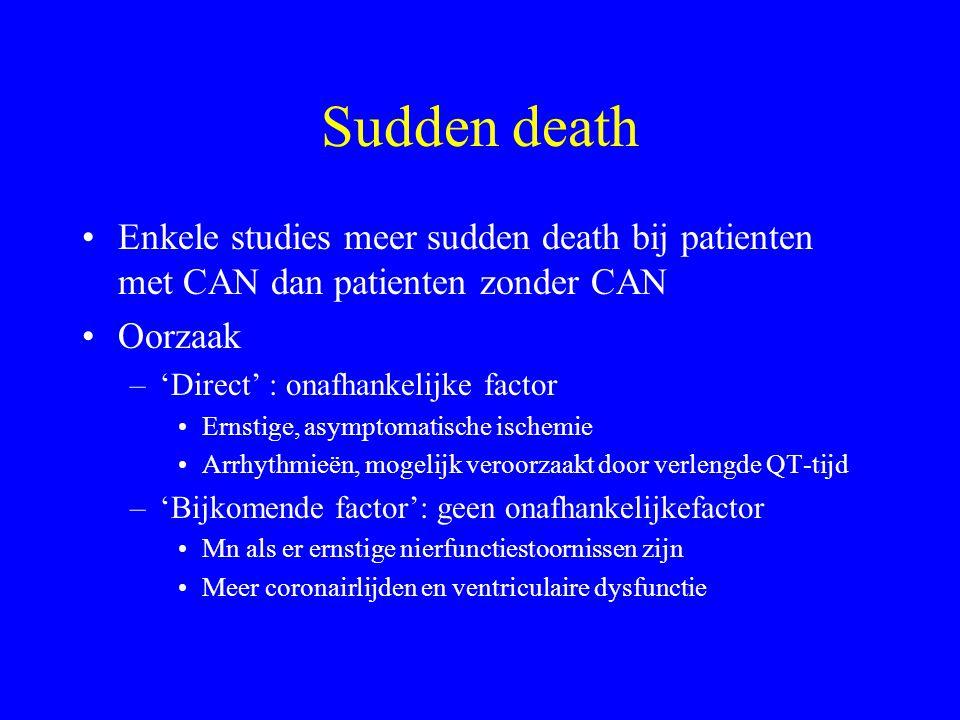 Sudden death Enkele studies meer sudden death bij patienten met CAN dan patienten zonder CAN. Oorzaak.