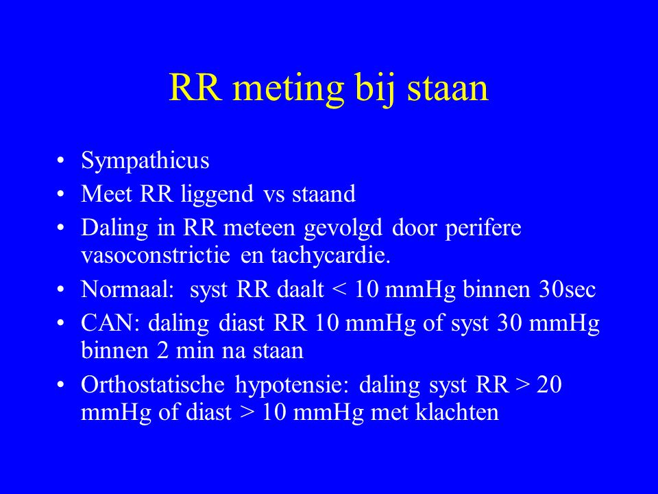 RR meting bij staan Sympathicus Meet RR liggend vs staand