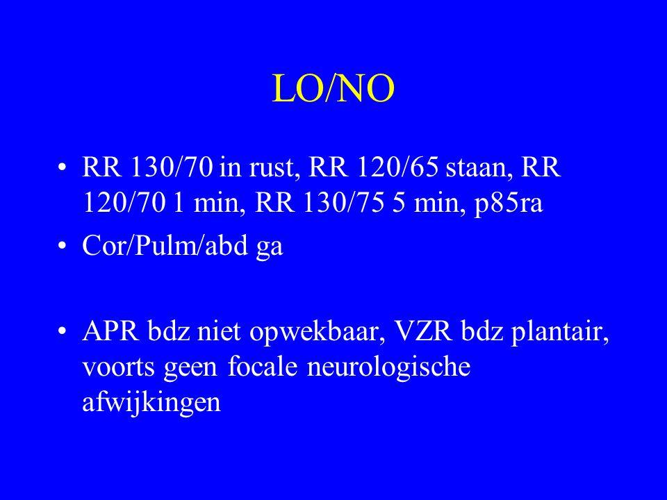 LO/NO RR 130/70 in rust, RR 120/65 staan, RR 120/70 1 min, RR 130/75 5 min, p85ra. Cor/Pulm/abd ga.