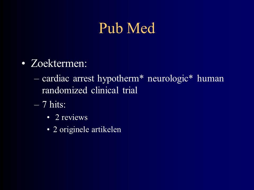 Pub Med Zoektermen: cardiac arrest hypotherm* neurologic* human randomized clinical trial. 7 hits: