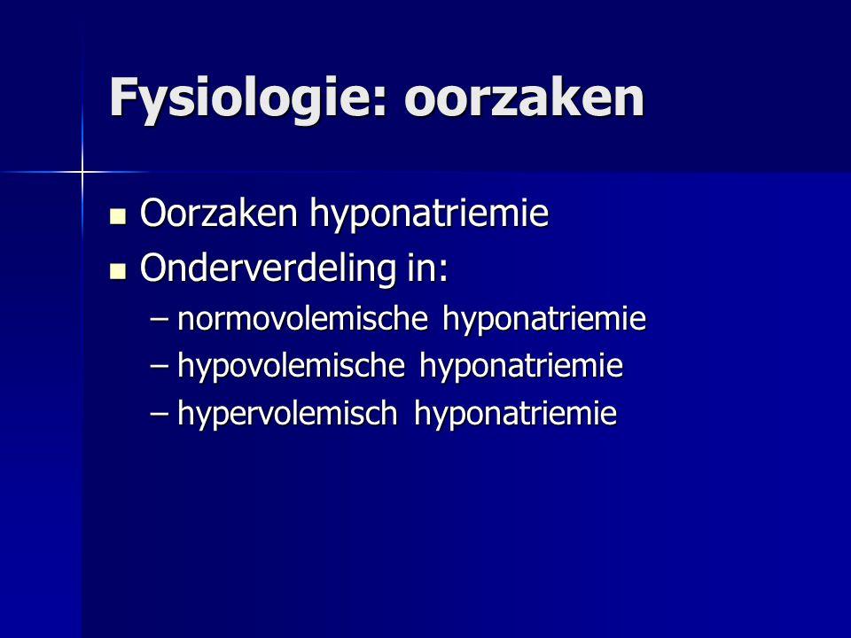 Fysiologie: oorzaken Oorzaken hyponatriemie Onderverdeling in:
