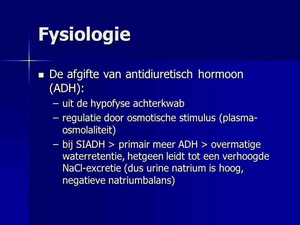Fysiologie De afgifte van antidiuretisch hormoon (ADH):