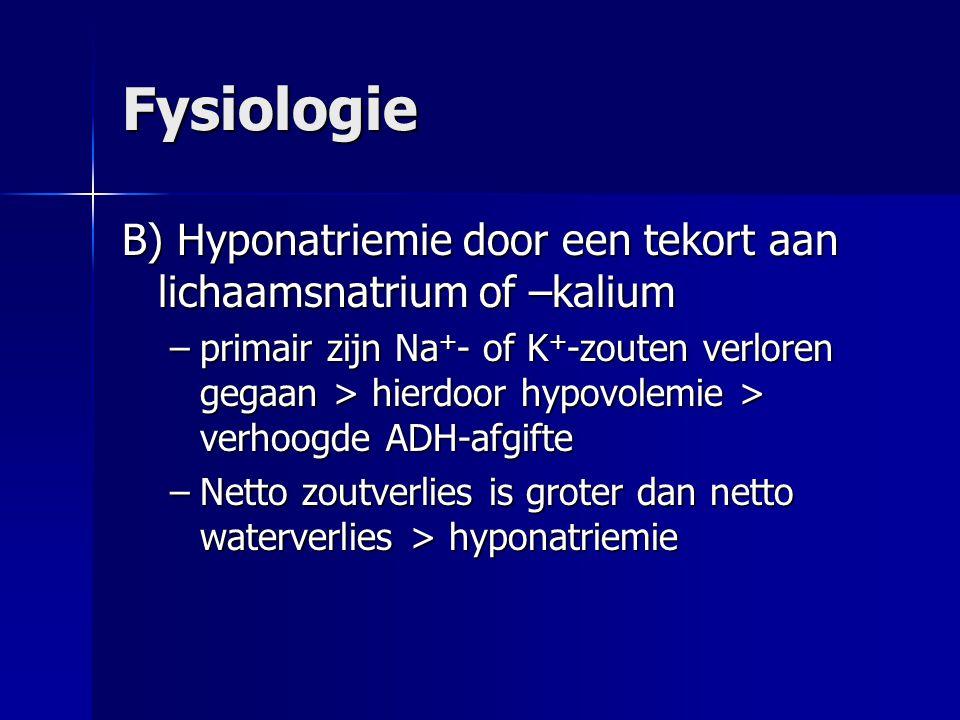 Fysiologie B) Hyponatriemie door een tekort aan lichaamsnatrium of –kalium.