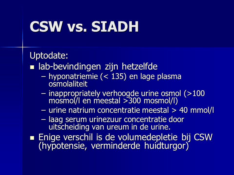CSW vs. SIADH Uptodate: lab-bevindingen zijn hetzelfde