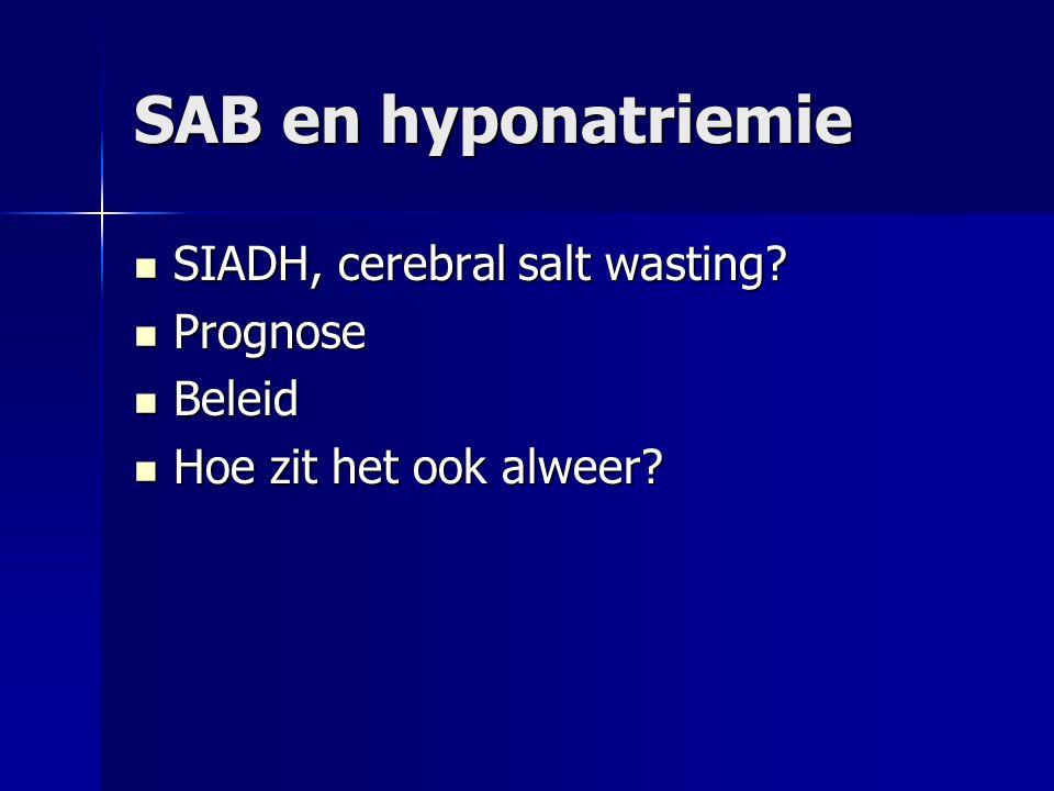SAB en hyponatriemie SIADH, cerebral salt wasting Prognose Beleid