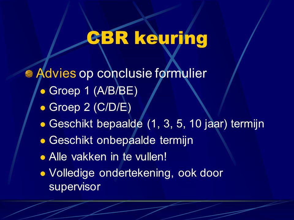 CBR keuring Advies op conclusie formulier Groep 1 (A/B/BE)