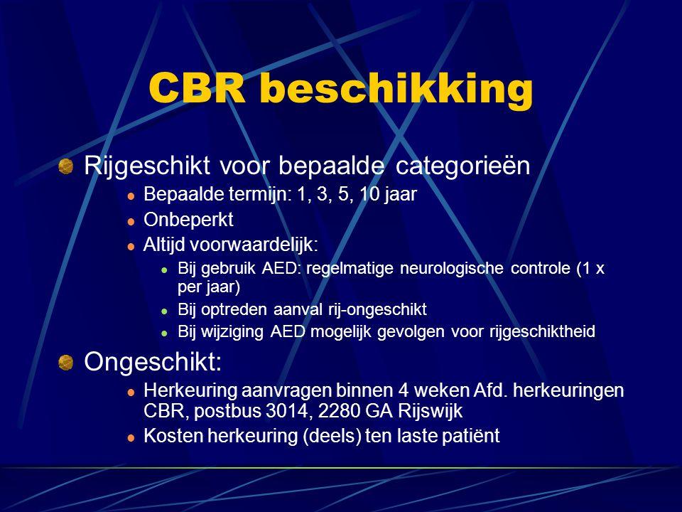 CBR beschikking Rijgeschikt voor bepaalde categorieën Ongeschikt: