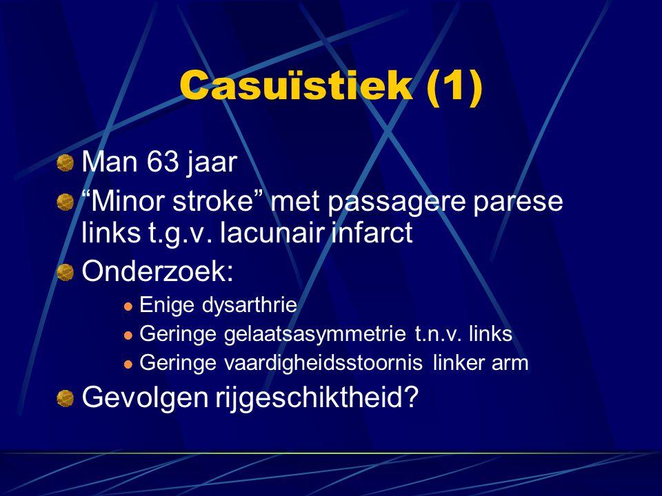 Casuïstiek (1) Man 63 jaar. Minor stroke met passagere parese links t.g.v. lacunair infarct. Onderzoek: