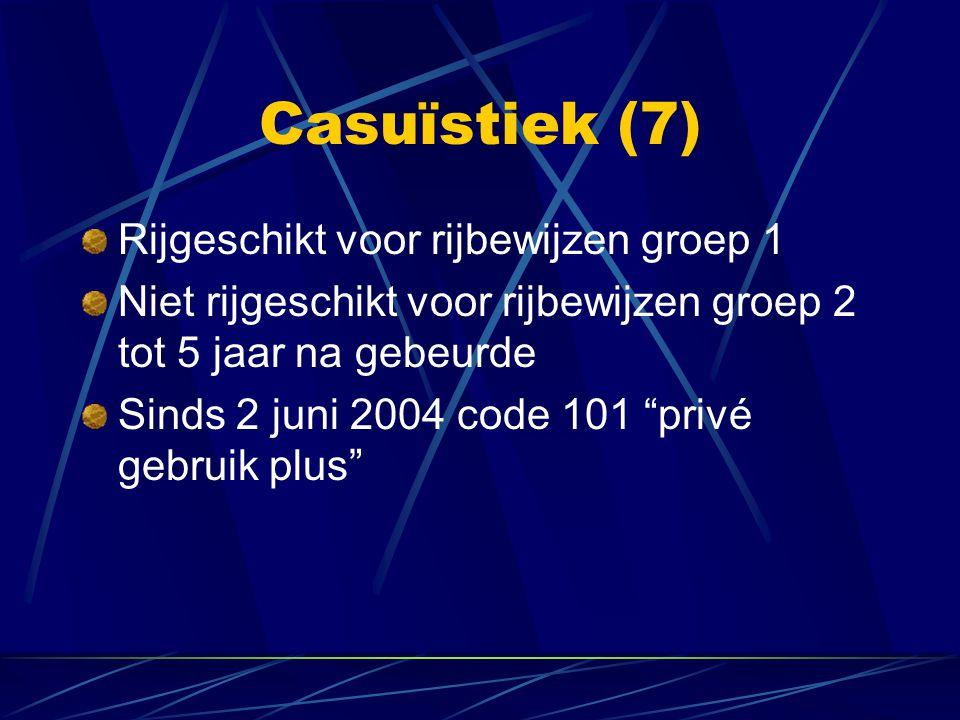 Casuïstiek (7) Rijgeschikt voor rijbewijzen groep 1