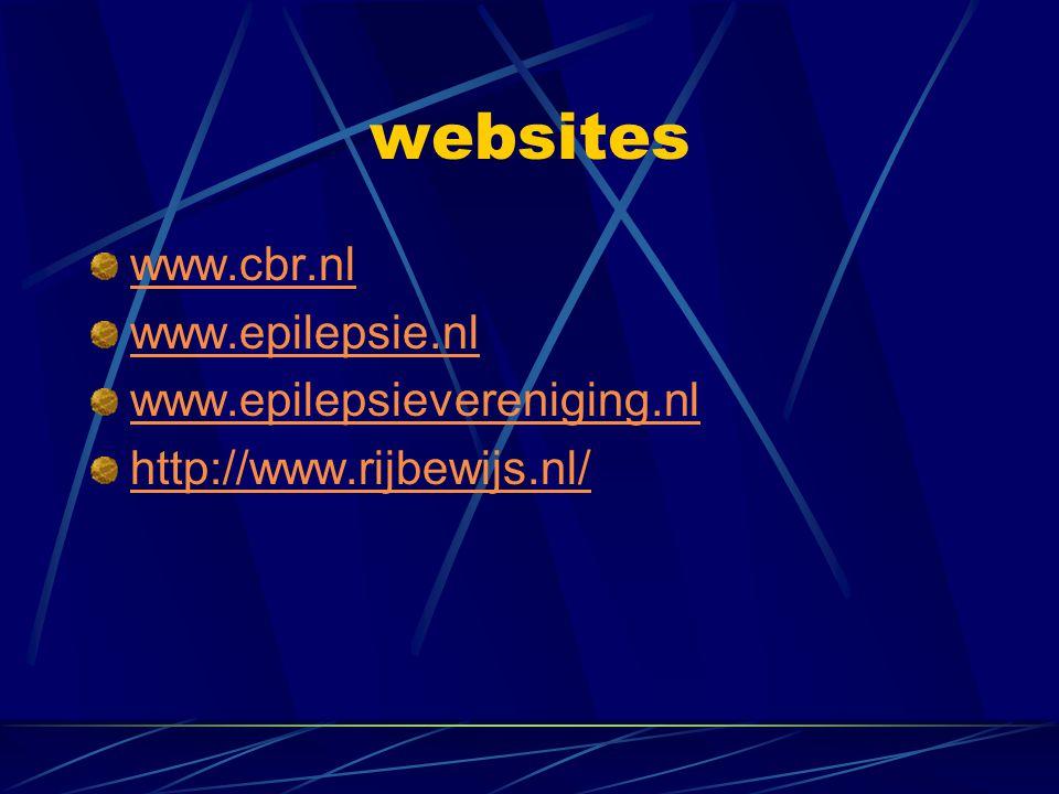websites www.cbr.nl www.epilepsie.nl www.epilepsievereniging.nl