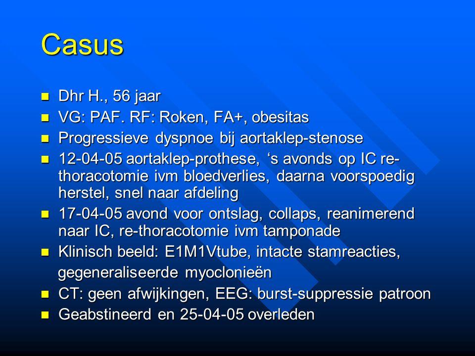 Casus Dhr H., 56 jaar VG: PAF. RF: Roken, FA+, obesitas