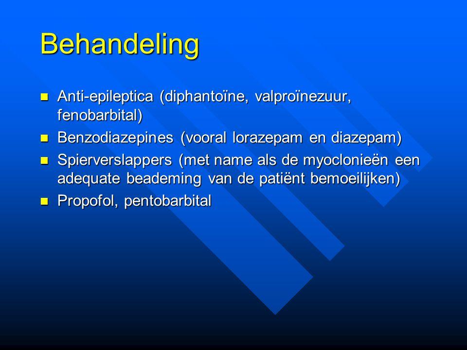 Behandeling Anti-epileptica (diphantoïne, valproïnezuur, fenobarbital)
