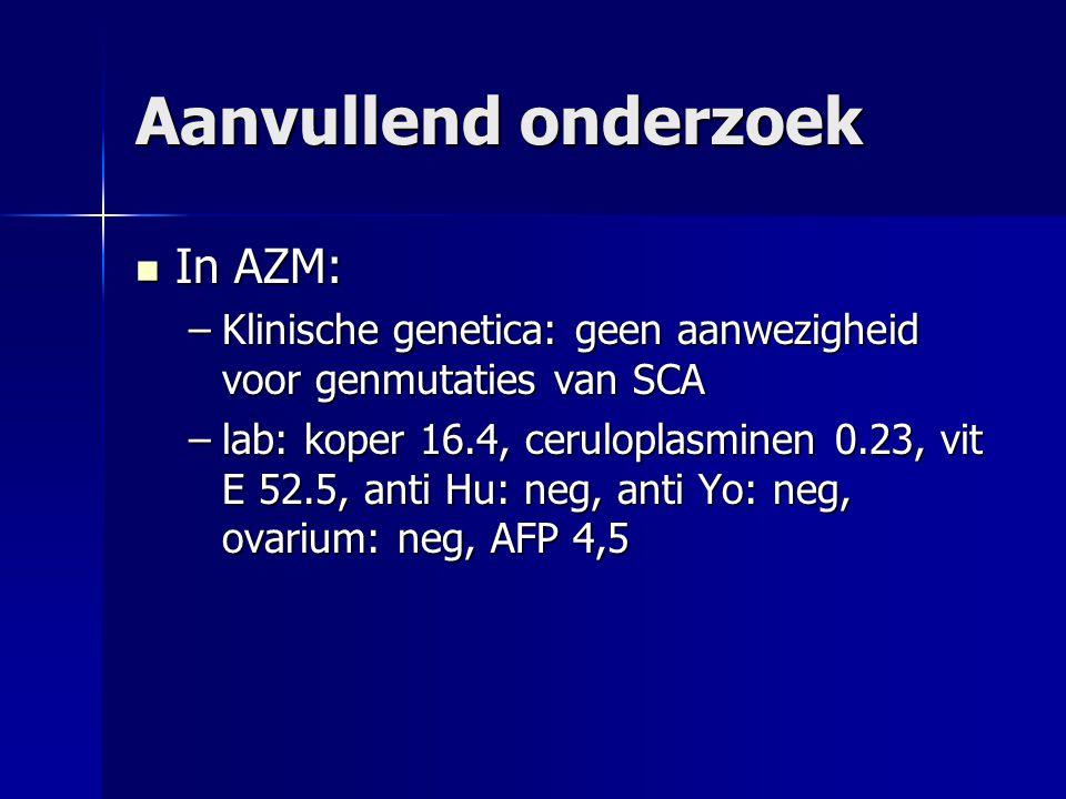 Aanvullend onderzoek In AZM: