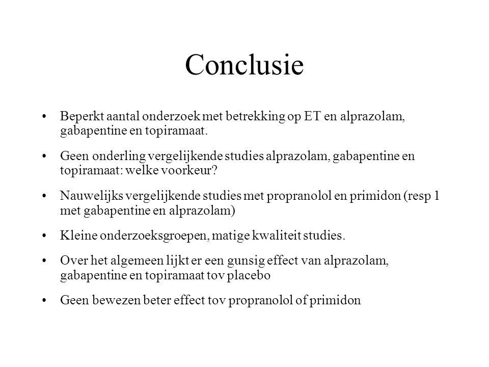Conclusie Beperkt aantal onderzoek met betrekking op ET en alprazolam, gabapentine en topiramaat.