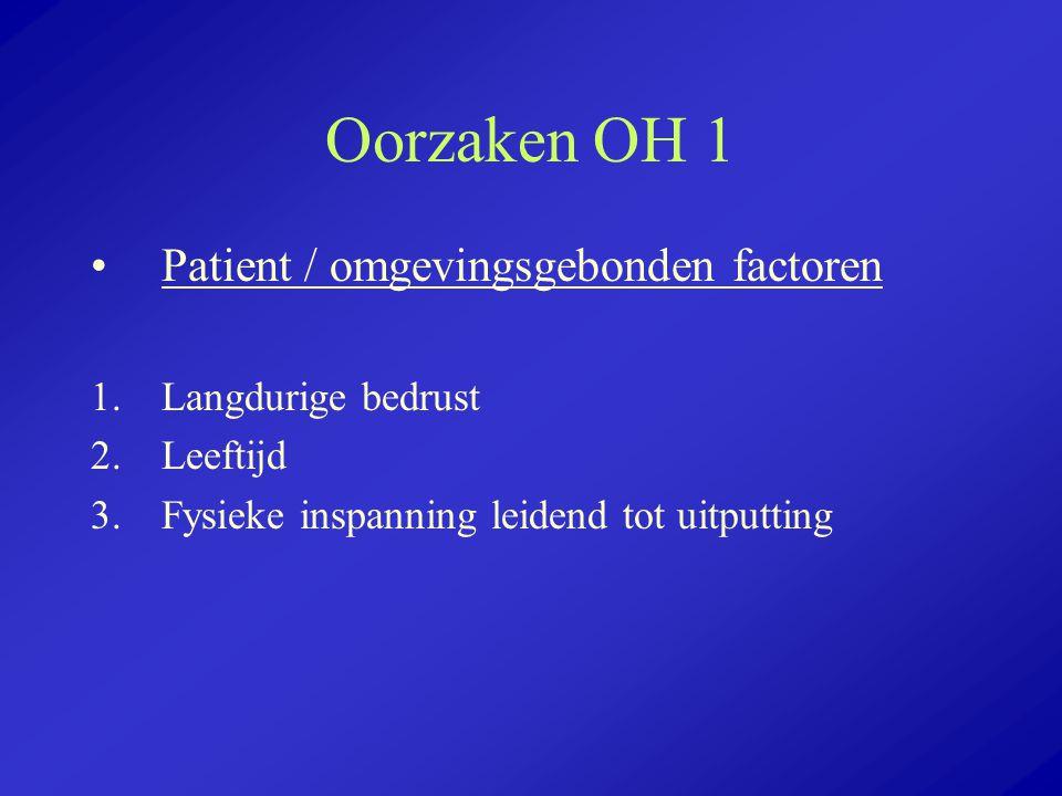 Oorzaken OH 1 Patient / omgevingsgebonden factoren Langdurige bedrust