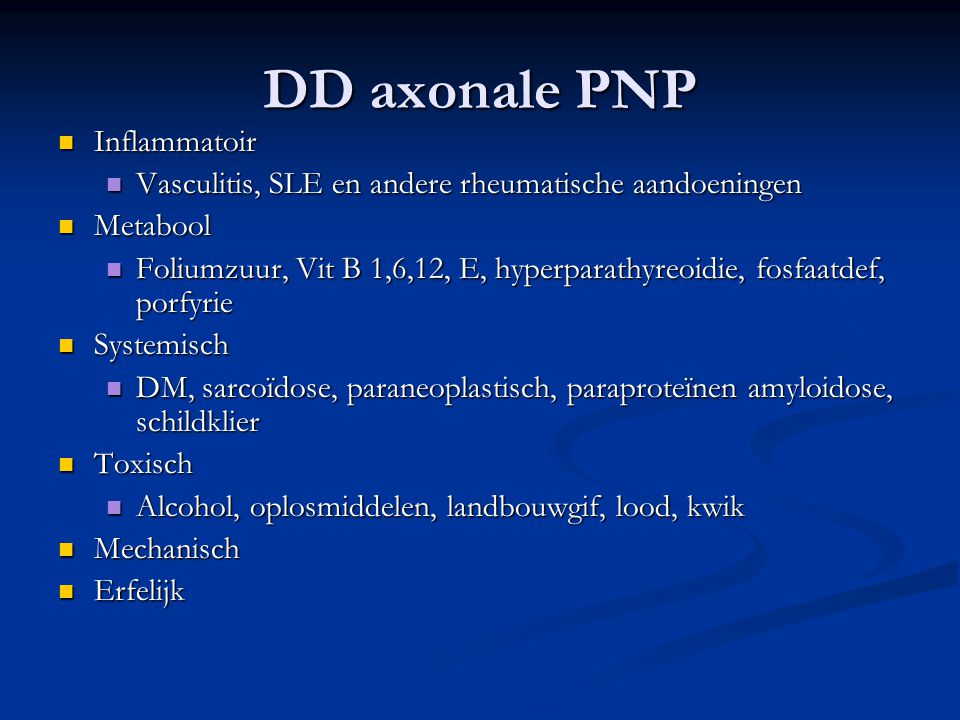 DD axonale PNP Inflammatoir