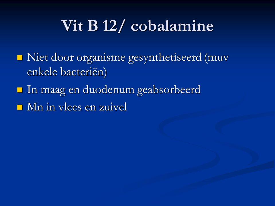 Vit B 12/ cobalamine Niet door organisme gesynthetiseerd (muv enkele bacteriën) In maag en duodenum geabsorbeerd.