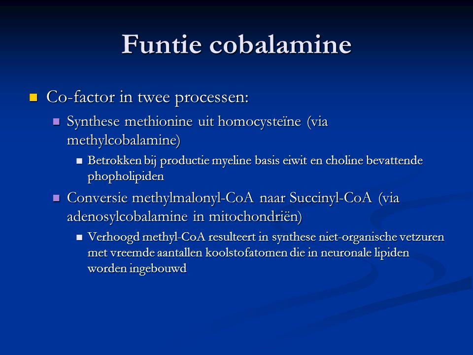 Funtie cobalamine Co-factor in twee processen: