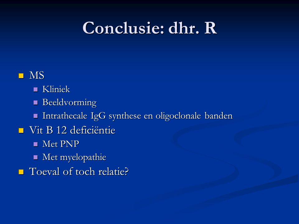 Conclusie: dhr. R MS Vit B 12 deficiëntie Toeval of toch relatie