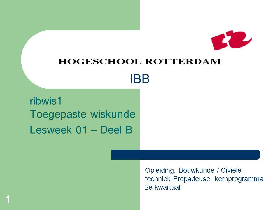 ribwis1 Toegepaste wiskunde Lesweek 01 – Deel B