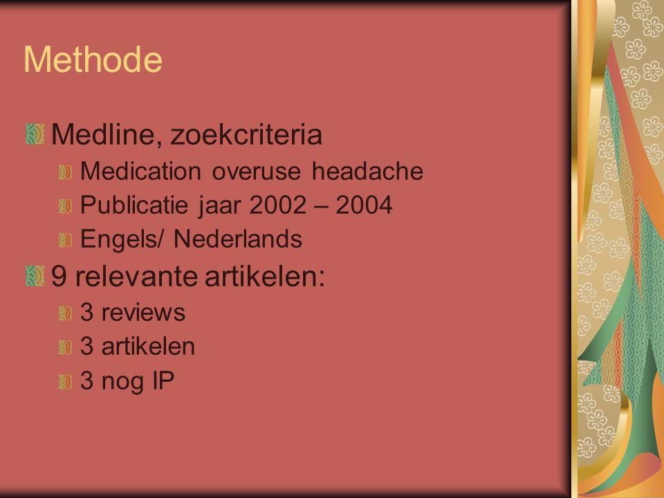 Methode Medline, zoekcriteria 9 relevante artikelen:
