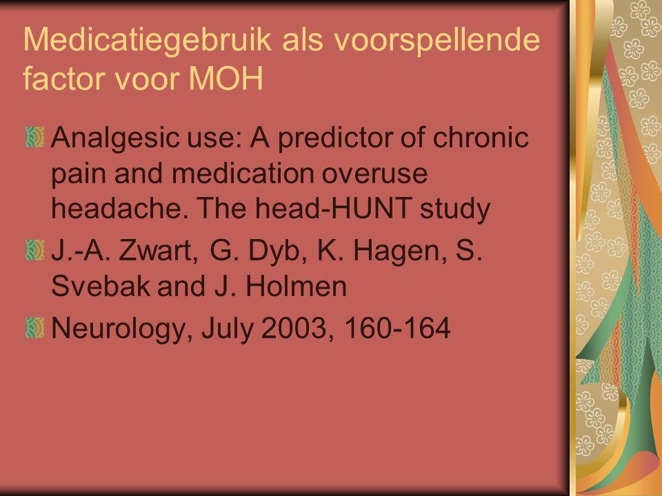 Medicatiegebruik als voorspellende factor voor MOH