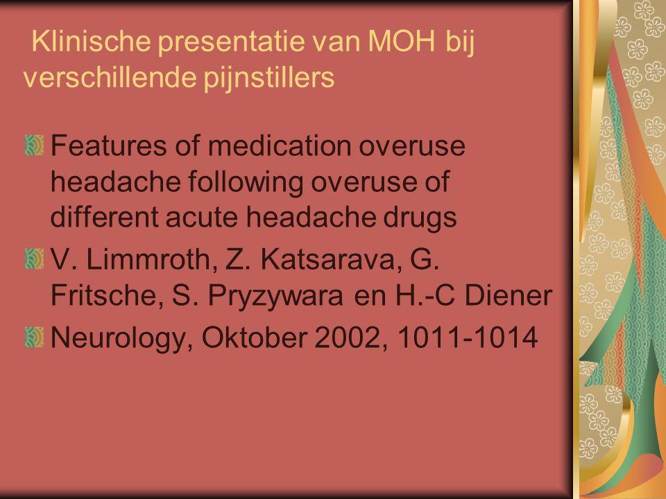 Klinische presentatie van MOH bij verschillende pijnstillers