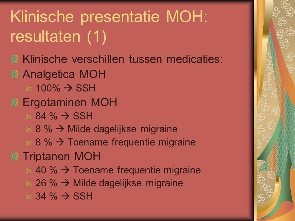 Klinische presentatie MOH: resultaten (1)