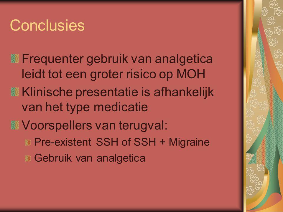 Conclusies Frequenter gebruik van analgetica leidt tot een groter risico op MOH. Klinische presentatie is afhankelijk van het type medicatie.