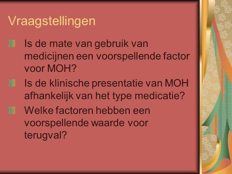 Vraagstellingen Is de mate van gebruik van medicijnen een voorspellende factor voor MOH