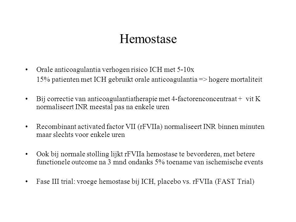 Hemostase Orale anticoagulantia verhogen risico ICH met 5-10x