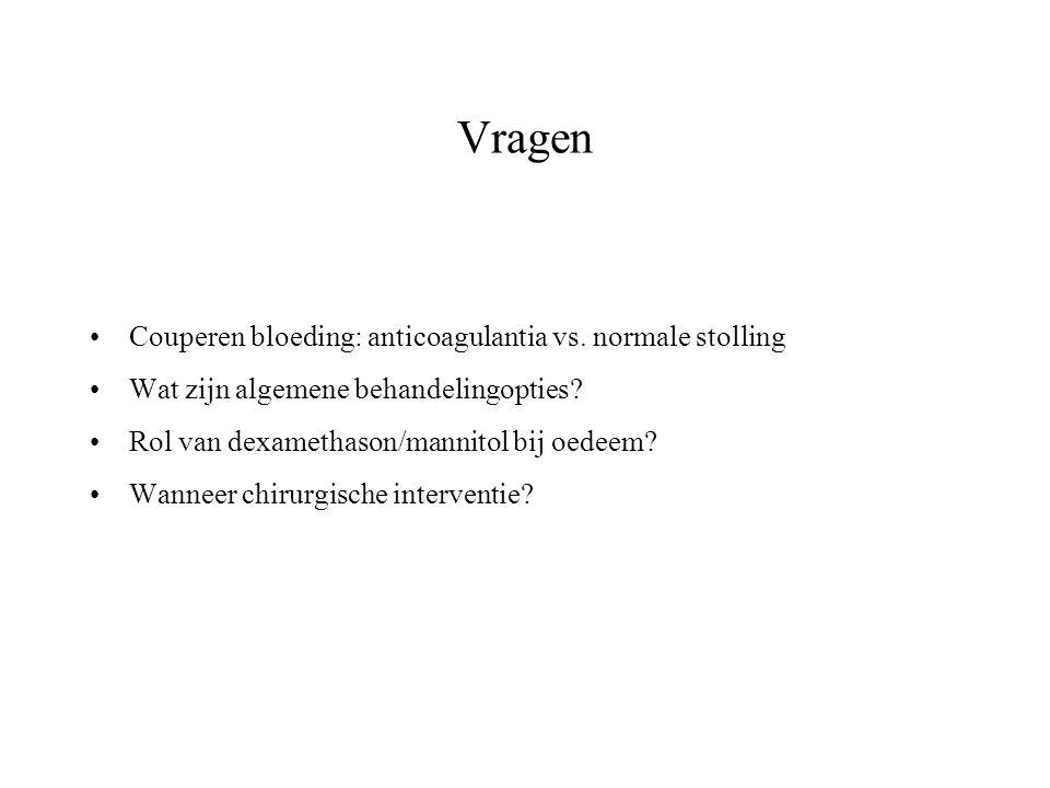Vragen Couperen bloeding: anticoagulantia vs. normale stolling