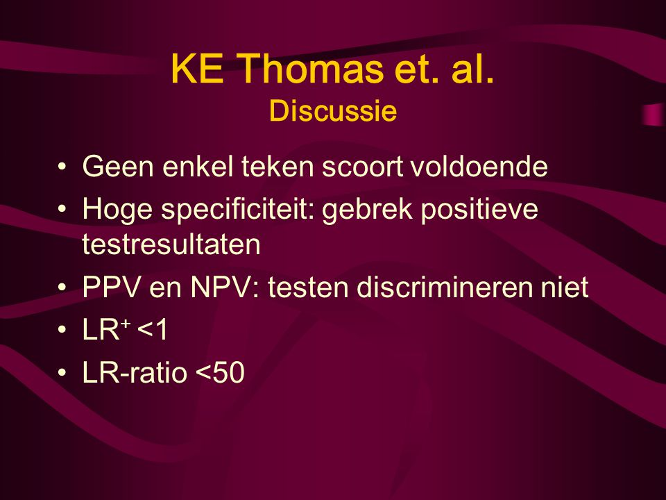 KE Thomas et. al. Discussie