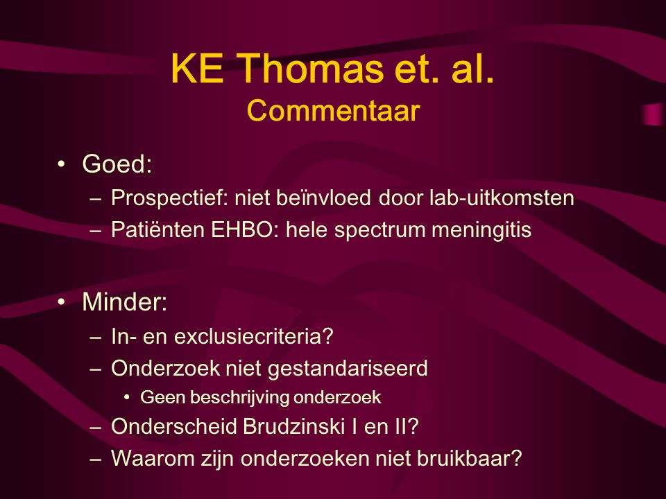 KE Thomas et. al. Commentaar