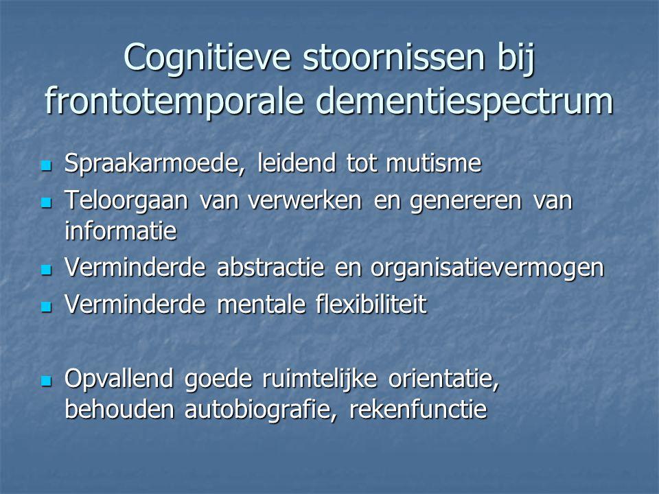 Cognitieve stoornissen bij frontotemporale dementiespectrum