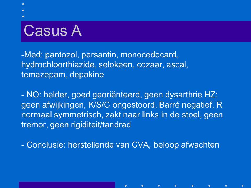 Casus A Med: pantozol, persantin, monocedocard, hydrochloorthiazide, selokeen, cozaar, ascal, temazepam, depakine.