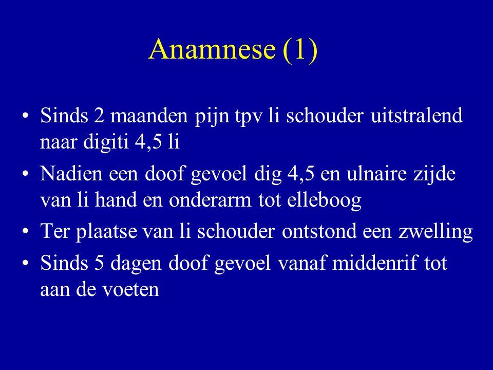 Anamnese (1) Sinds 2 maanden pijn tpv li schouder uitstralend naar digiti 4,5 li.
